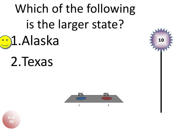 Which of the following is the larger state?