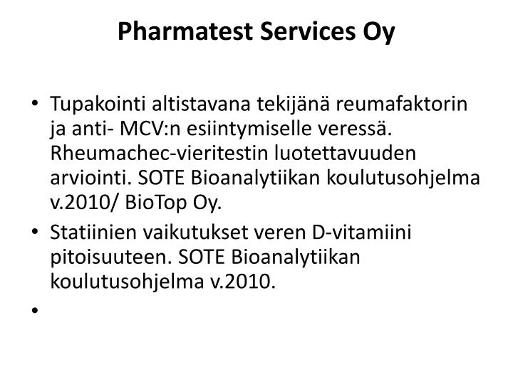 Pharmatest Services Oy