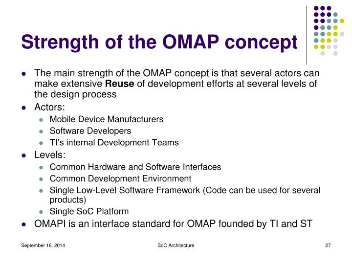 Strength of the OMAP concept
