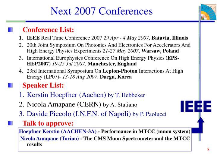 Next 2007 Conferences
