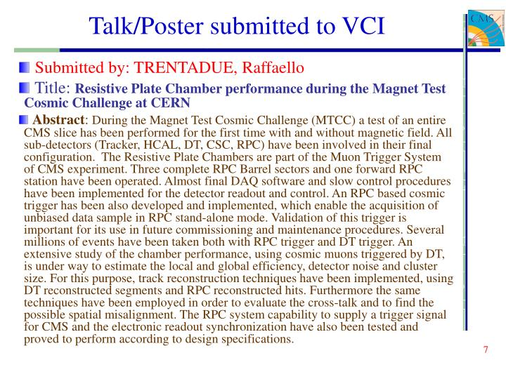 Talk/Poster submitted to VCI