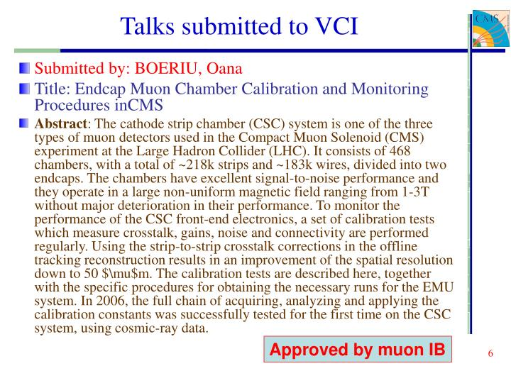 Talks submitted to VCI