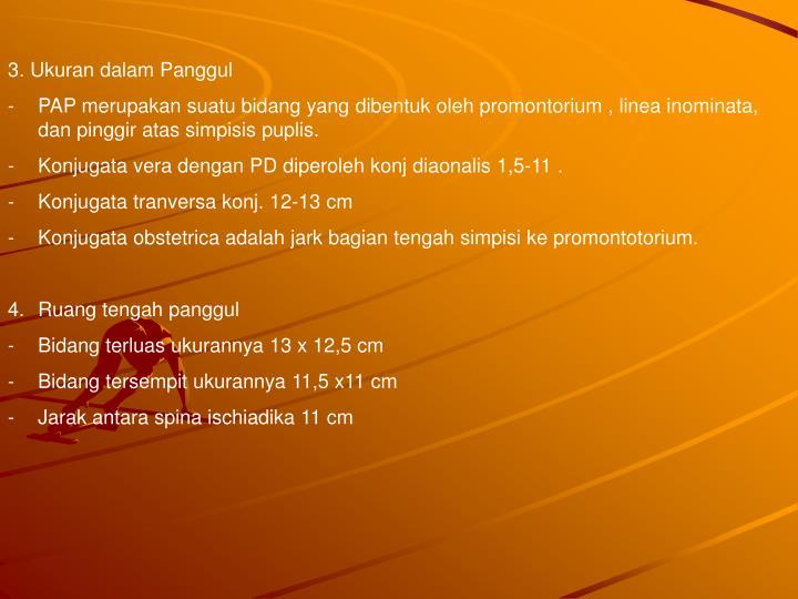 3. Ukuran dalam Panggul