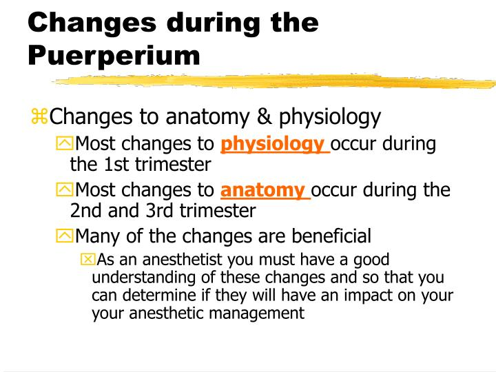 Changes during the puerperium