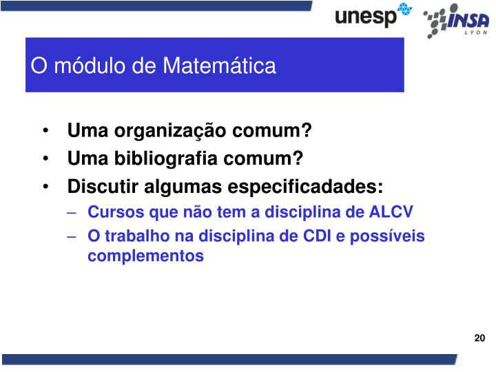 O módulo de Matemática