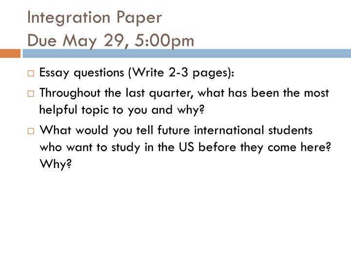 Integration Paper