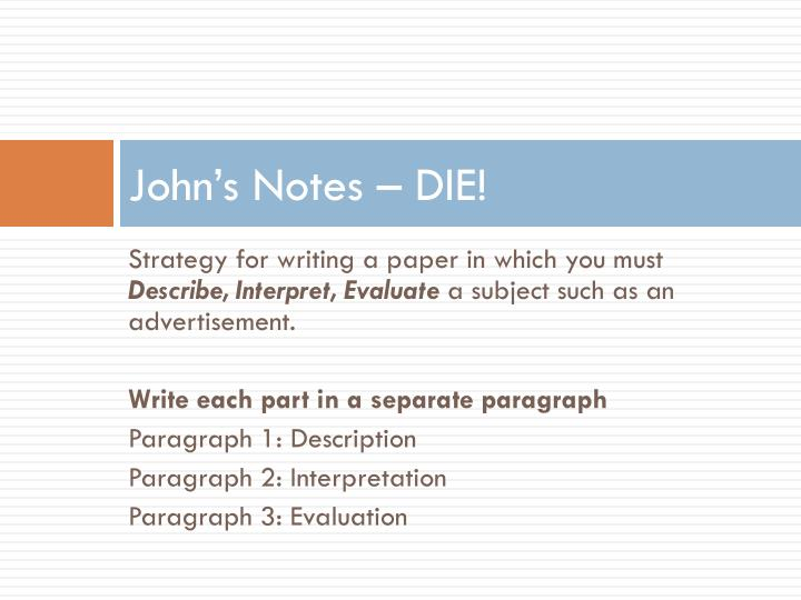 John's Notes – DIE!