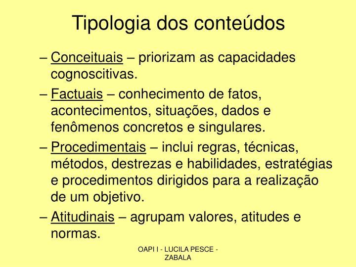 Tipologia dos conteúdos