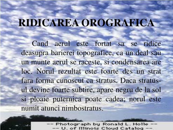 RIDICAREA OROGRAFICA
