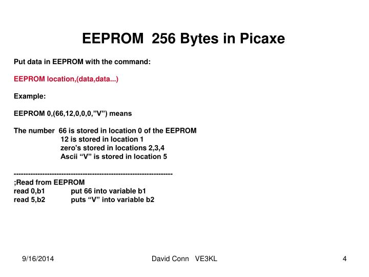 EEPROM  256 Bytes in Picaxe