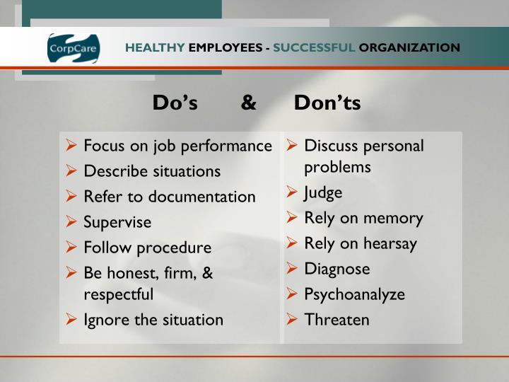 Focus on job performance