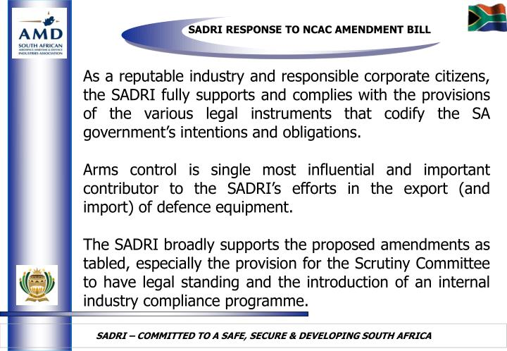 SADRI RESPONSE TO NCAC AMENDMENT BILL