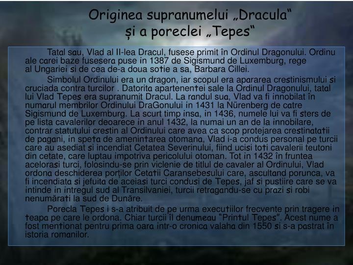 """Originea supranumelui """"Dracula"""""""