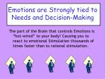 emotions are strongly tied to needs and decision making