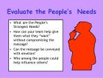 evaluate the people s needs