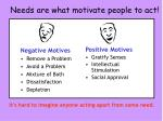needs are what motivate people to act