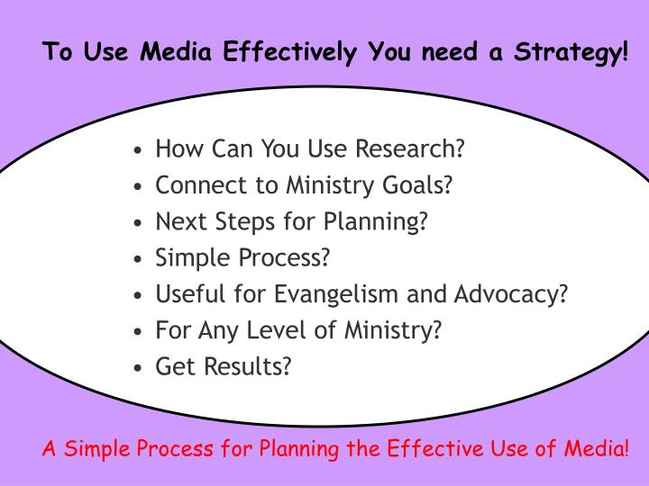 To Use Media Effectively You need a Strategy!