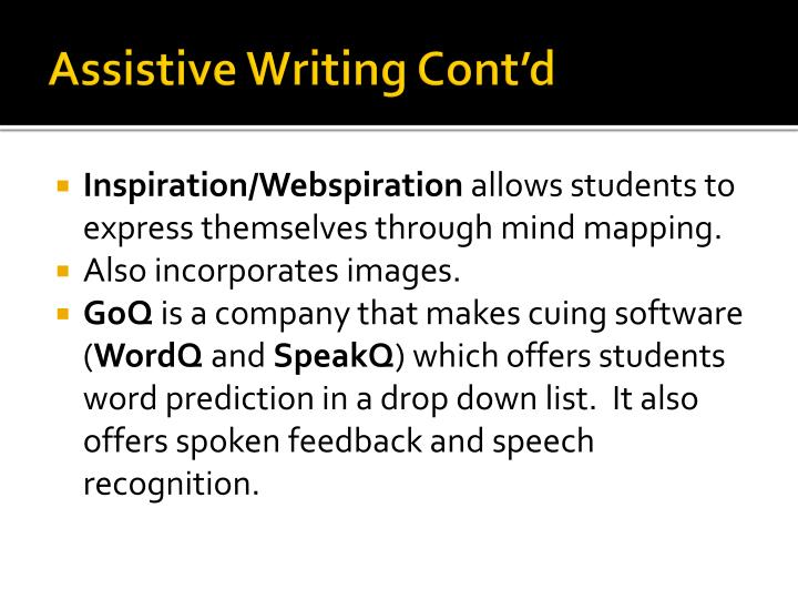 Assistive Writing Cont'd