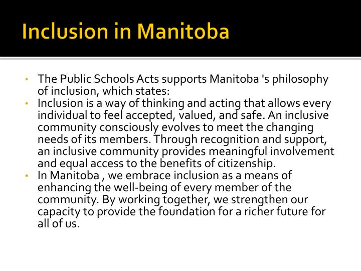 Inclusion in manitoba