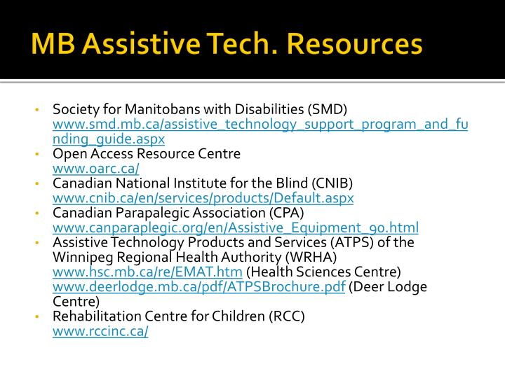 MB Assistive Tech. Resources