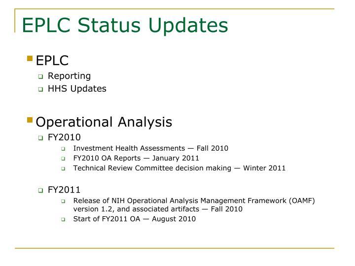 EPLC Status Updates
