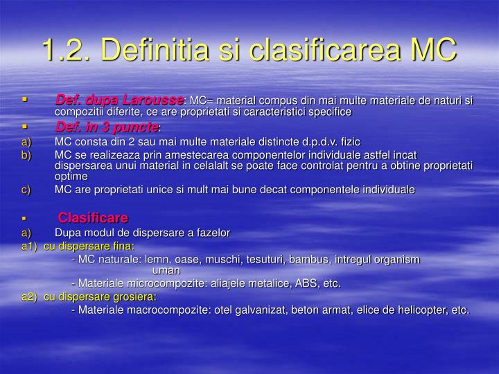 1.2. Definitia si clasificarea MC