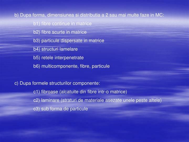 b) Dupa forma, dimensiunea si distributia a 2 sau mai multe faze in MC: