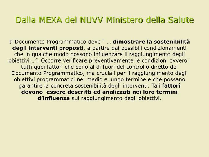 Dalla MEXA del NUVV Ministero della Salute