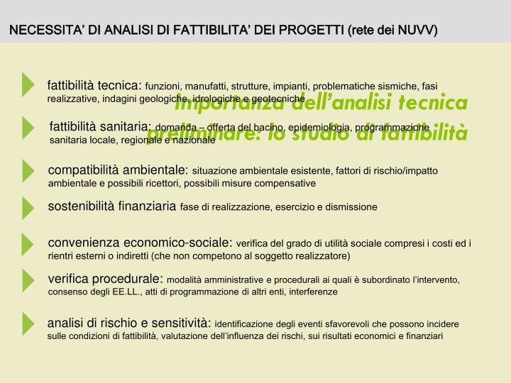 NECESSITA' DI ANALISI DI FATTIBILITA' DEI PROGETTI (rete dei NUVV)