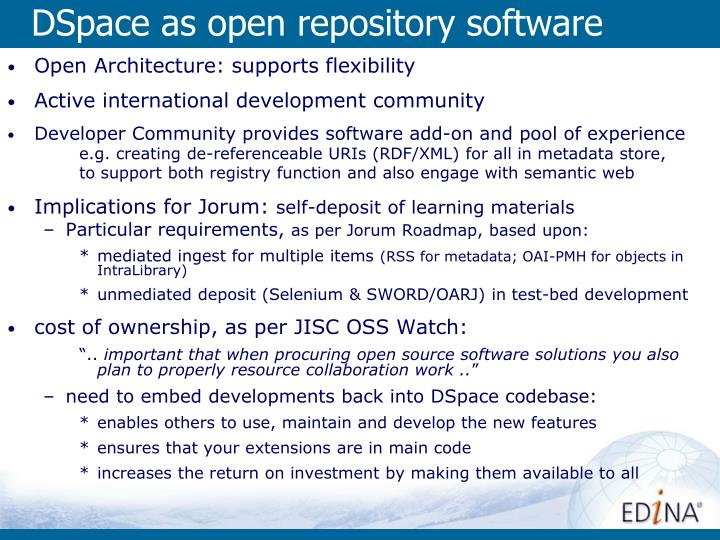 DSpace as open repository software