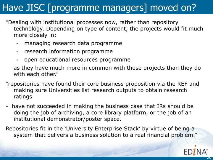 Have JISC [programme managers] moved on?