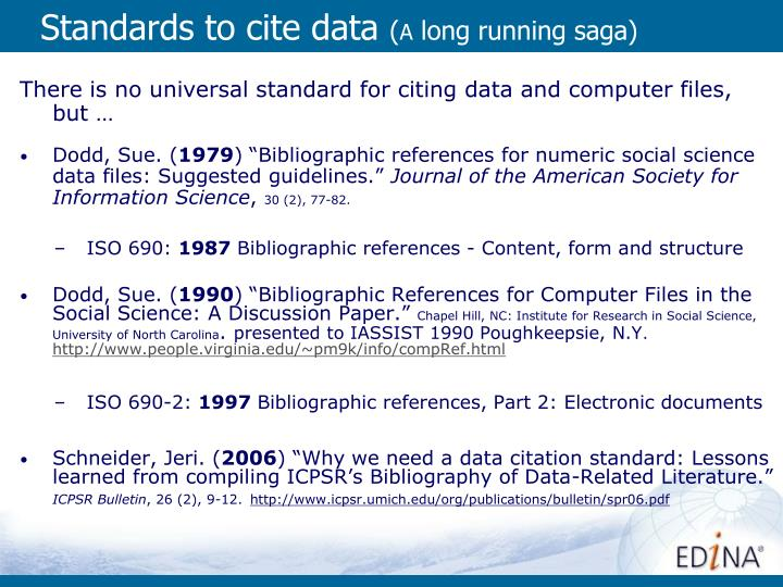 Standards to cite data