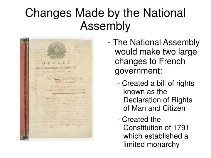 Changes Made by the National Assembly