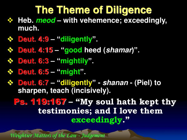 The Theme of Diligence