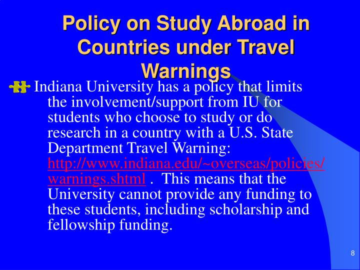 Policy on Study Abroad in Countries under Travel Warnings