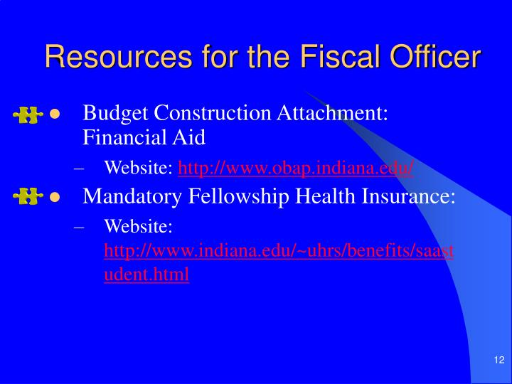 Resources for the Fiscal Officer