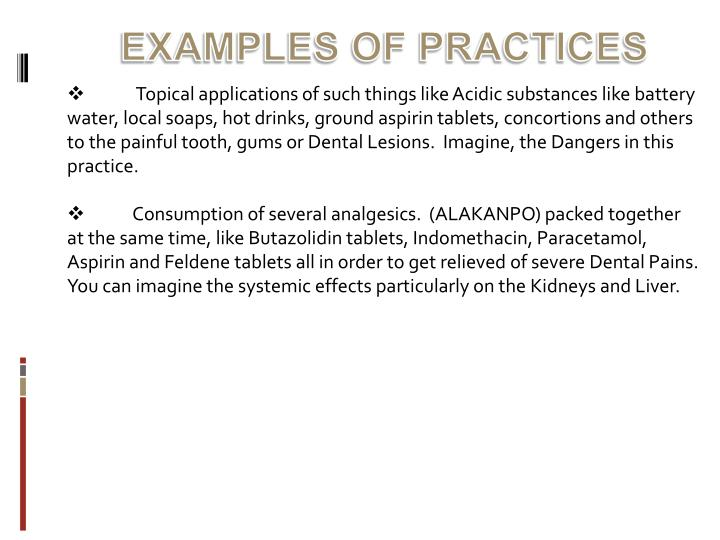 EXAMPLES OF PRACTICES