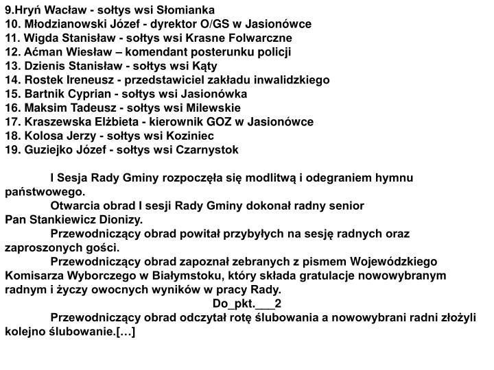 9.Hryń Wacław - sołtys wsi Słomianka