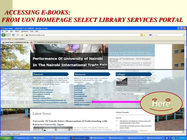 ACCESSING E-BOOKS: