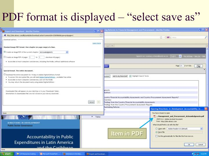 "PDF format is displayed – ""select save as"