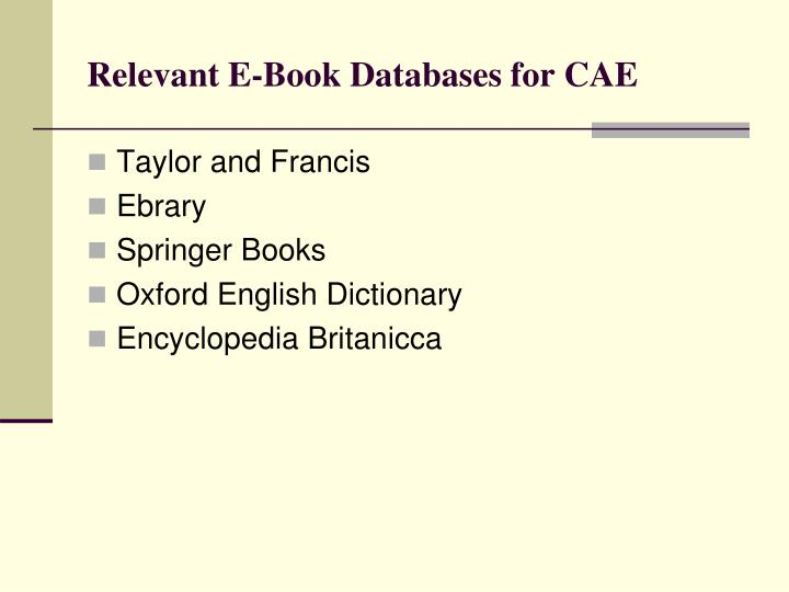 Relevant E-Book Databases for CAE