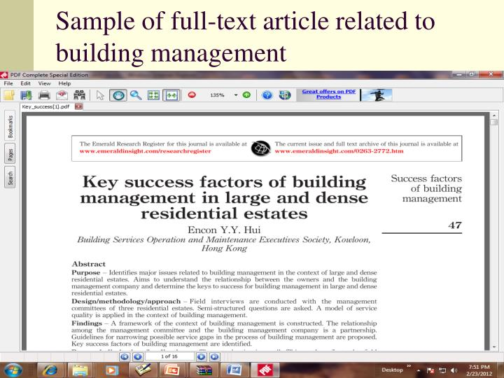 Sample of full-text article related to building management