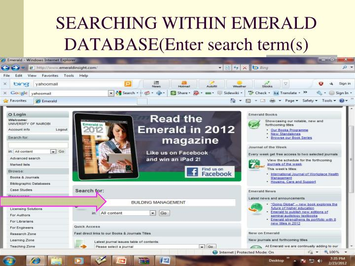 SEARCHING WITHIN EMERALD DATABASE(Enter search term(s)