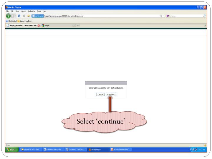 Select 'continue'