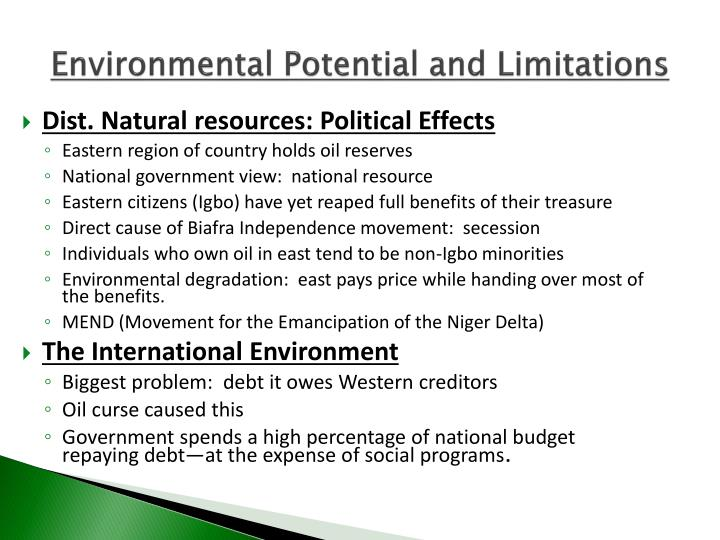 Environmental Potential and Limitations