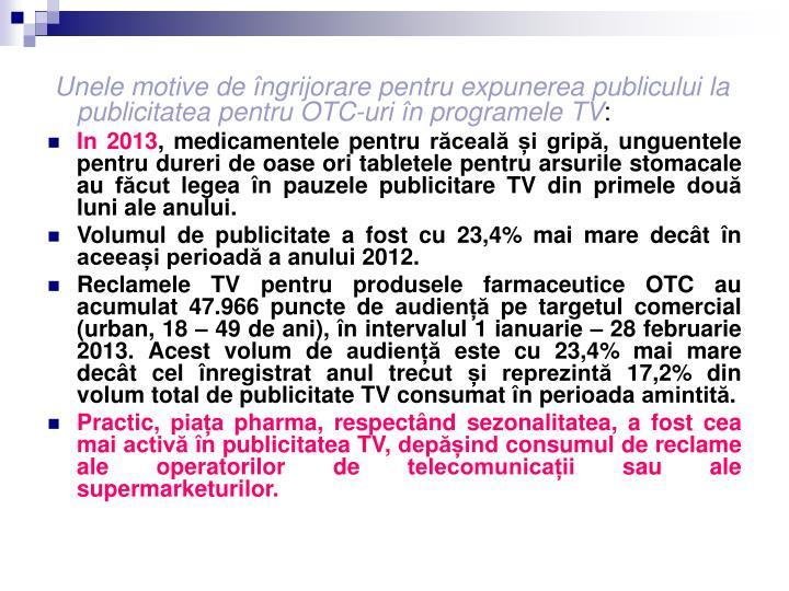 Unele motive de îngrijorare pentru expunerea publicului la publicitatea pentru OTC-uri în programele TV