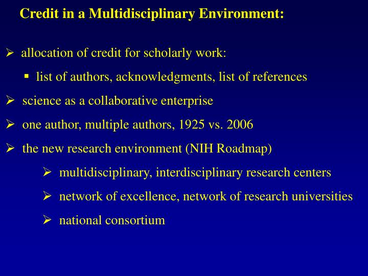 Credit in a Multidisciplinary Environment: