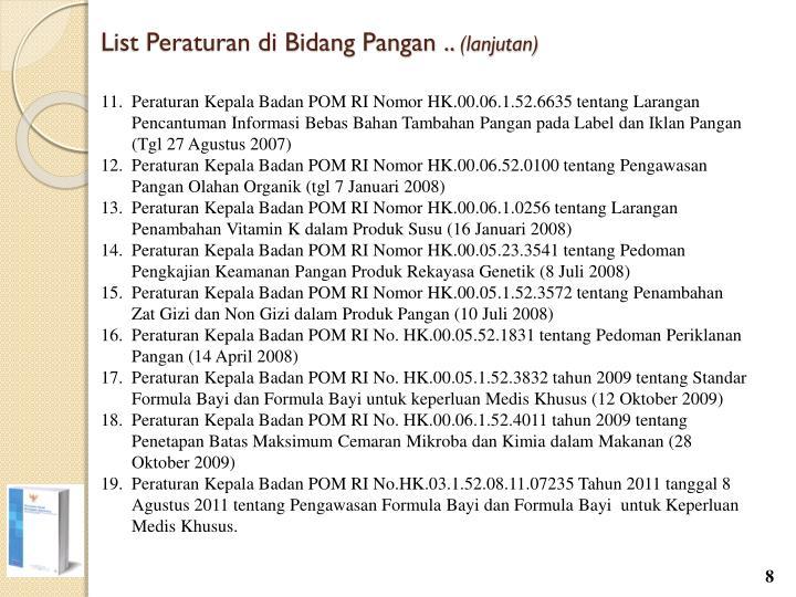List Peraturan di Bidang Pangan ..
