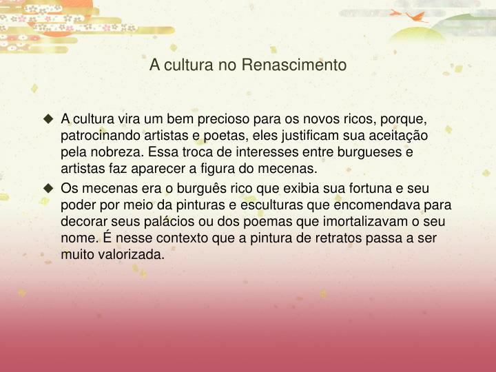 A cultura no Renascimento