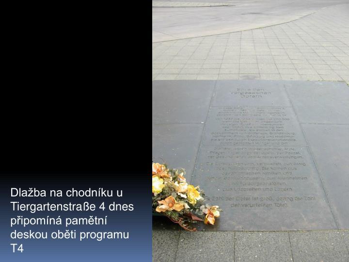 Dlaba na chodnku u Tiergartenstrae 4 dnes pipomn pamtn deskou obti programu T4